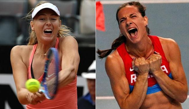 Sharapova confessou doping e pode não jogar; Isinbayeva tem vaga incerta no salto com vara - Foto: Alessandra Tarantino l AP Photo l 16.05.2015 e Maxim Shemetov l Reuters l 14.03.2013
