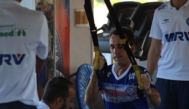 Atacante conversou com o técnico Doriva e, depois, fez um treino na academia - Foto: Divulgação l EC Bahia