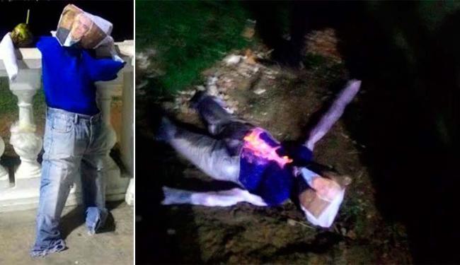 Boneco do com o rosto de Otto Alencar foi queimado no Farol da Barra na noite desta quinta - Foto: Divulgação