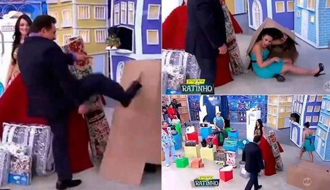 Ratinho chutou a caixa e a assistente estava dentro - Foto: Divulgação