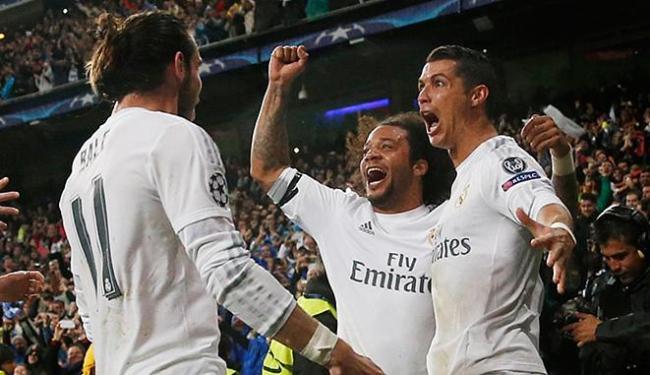 CR7 comemora com Marcelo e Bale após marcar o gol da classificação - Foto: Reuters l Juan Medina Livepic