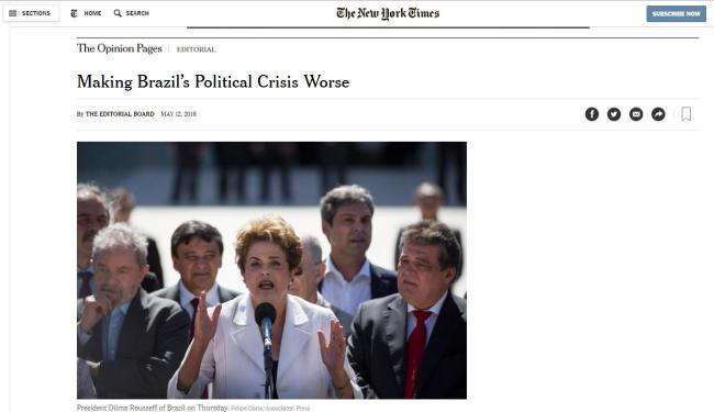 Editorial do NYT sobre impeachment de Dilma - Foto: Reprodução