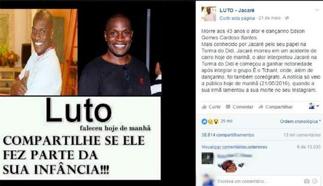 Boato foi divulgado em página no Facebook - Foto: Reprodução