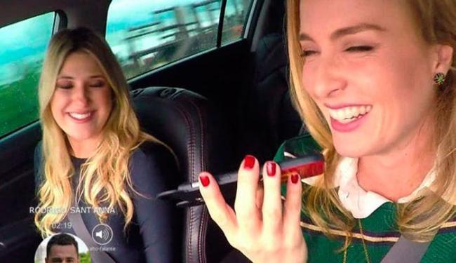 Momento do flagra de Angélica ao volante e usando o celular - Foto: Reprodução | TV Globo