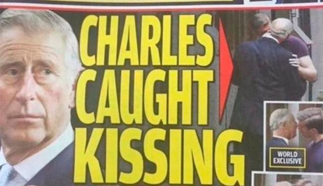 Veículo norte-americano traz fotos de suposto beijo de Charles em rapaz - Foto: Reprodução