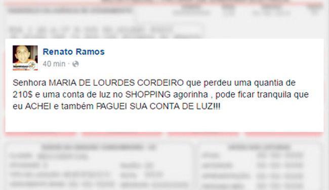 Jovem usou o Facebook para localizar e acalmar a dona da conta - Foto: Reprodução | Alô Valparaíso