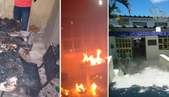 Móveis e documentos da sala da direção foram queimados - Foto: Reprodução   Campo Formoso Notícia