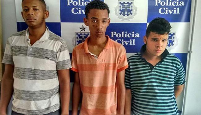 Everton (E), Igor (C) e Joelbson foram presos em flagrante - Foto: Divulgação l Ascom da Polícia Civil