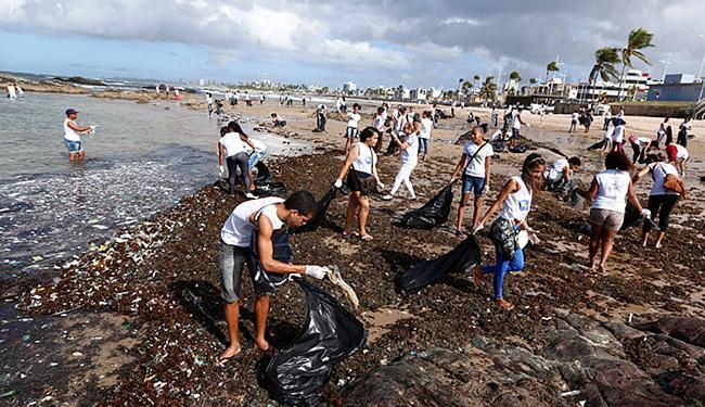 Além da limpeza, os jovens aprendem a preservar espécies marinhas - Foto: Lucas Melo | Ag. A TARDE