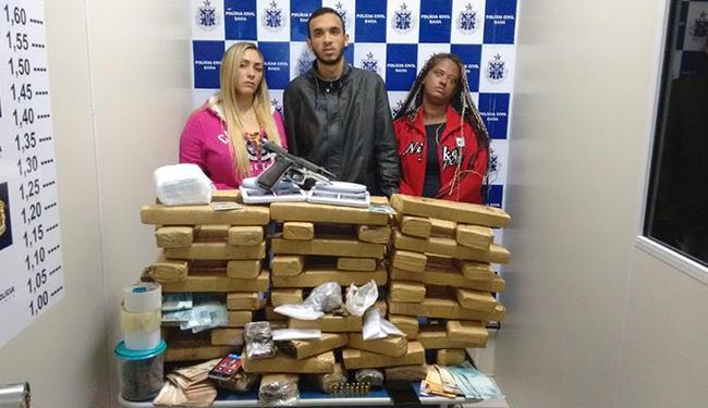 Trio foi preso com 80 kg de maconha na cidade de Vitória da Conquista - Foto: Foto: Divulgação Policia Civil