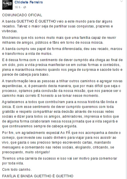 Post feito por Chiclete Ferreira