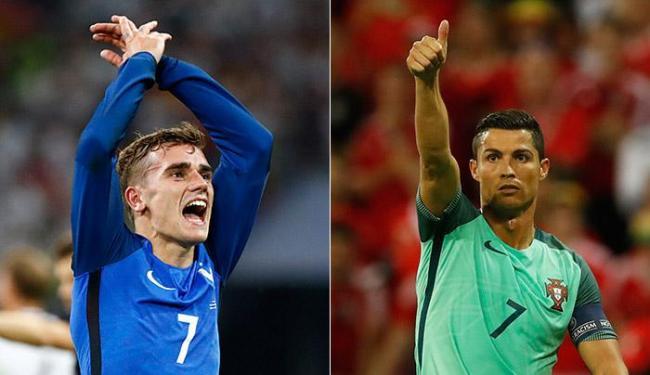 Griezmann é a maior esperança da França; Portugueses apostam todas as suas fichas em CR7 - Foto: Christian Hartmann e Carl Recine l Reuters