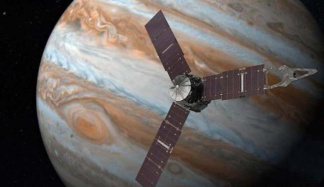 A viagem para Júpiter durou cinco anos e agora a sonda está girando em volta do planeta - Foto: Reprodução | Nasa