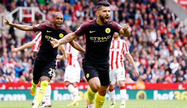 Agüero fez dois e garantiu a vitória do Manchester City - Foto: Carl Recine   Reuters