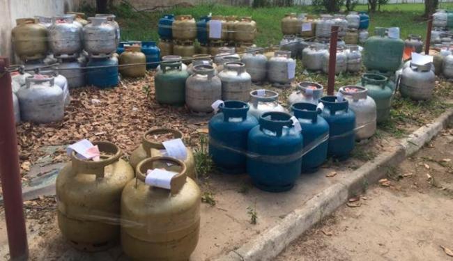 Os botijões estão à disposição da Agência Nacional de Petróleo, Gás Natural e Biocombustíveis (ANP) - Foto: Divulgação | SSP/BA