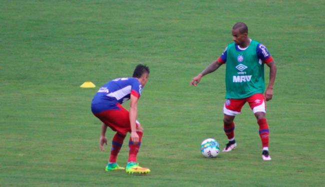 Mesmo com a chuva, os jogadores treinaram normalmente no Fazendão - Foto: Felipe Oliveira | EC Bahia