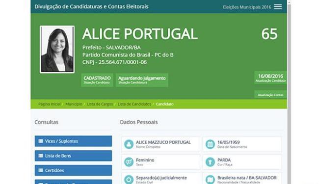 Fichas dos candidatos Alice Portugal (PCdoB)... - Foto: Reprodução l Site do TSE