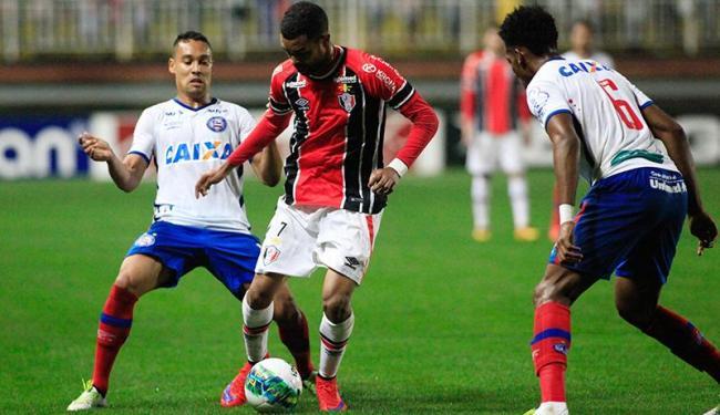 Jogador do Joinvile domina a bola sob olhares dos tricolores - Foto: Carlos Júnior | Futura Press | Estadão Conteúdo