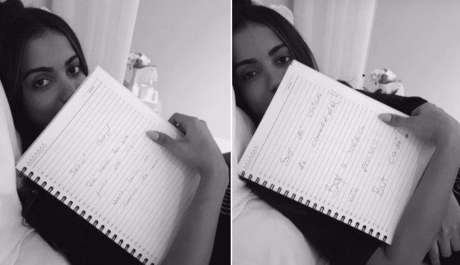 Anitta está se comunicando através de bilhetes - Foto: Reprodução|Snapchat
