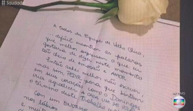 A carta foi lida para o elenco da novela Velho Chico durante o programa Encontro - Foto: Reprodução