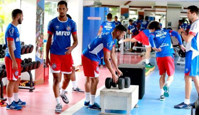 Os atletas fizeram uma atividade na academia nesta segunda-feira, 5 - Foto: Felipe Oliveira | EC Bahia