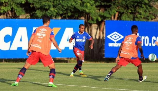 Os atletas reservas no jogo contra o CRB fizeram atividade com bola Fazendão - Foto: Felipe Oliveira | EC Bahia