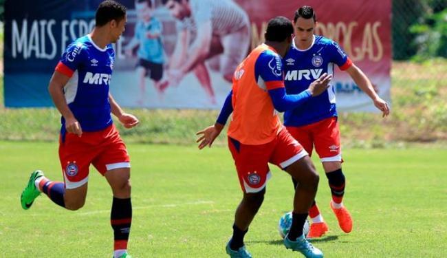 O Tricolor treinou bola parada antes de viajar nesta sexta-feira, 9 - Foto: Felipe Oliveira | EC Bahia