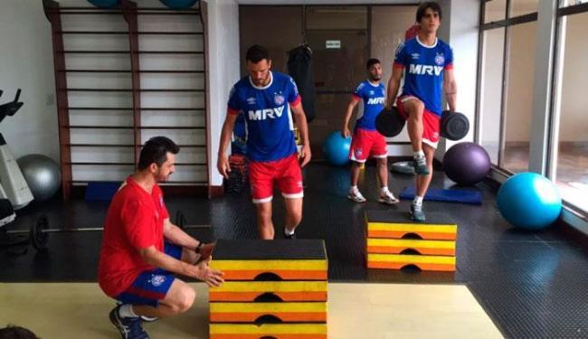 Ainda em Belém, o elenco se reapresentou e se exercitou na academia - Foto: Felipe Oliveira | EC Bahia
