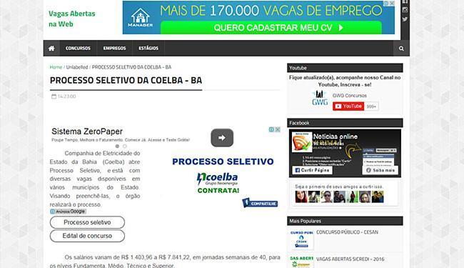 Falso processo seletivo da Coelba anunciado em site fez empresa emitir uma nota - Foto: Reprodução