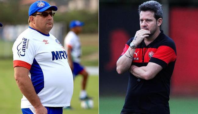 Guto e Argel planejam os times na Série A - Foto: Felipe Oliveira | EC Bahia - Adilton Venegeroles | Ag. A TARDE