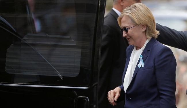 A candidata alegou que o calor teria sido o motivo de seu mal estar - Foto: Brian Snyder | Reuters | 11.09.2016