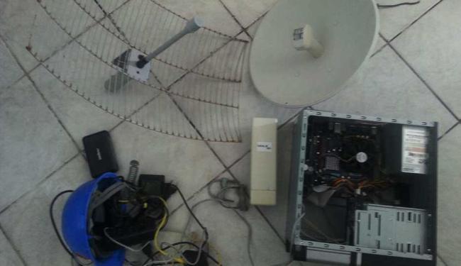CPU encontrada fornecia sinal ilegal de internet - Foto: Ascom   Polícia Civil