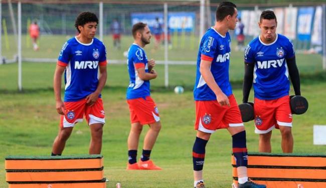 Atletas do Tricolor durante trabalho nesta sexta-feira, 7 - Foto: Felipe Oliveira   EC Bahia