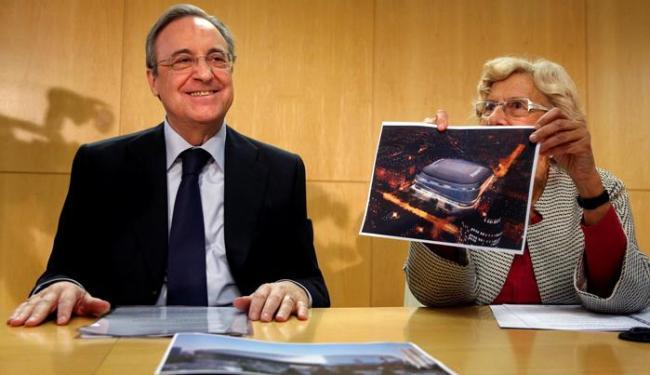 Florentino Perez, presidente do Real Madrid, durante anúncio de reforma do Bernabéu - Foto: Juan Medina   Reuters