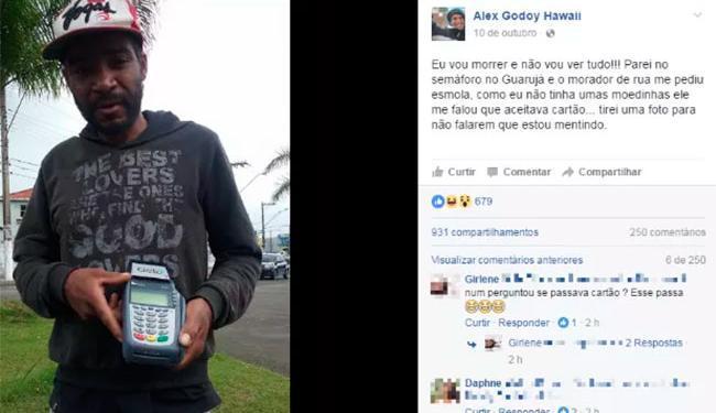 Internauta tirou foto do morador de rua e postou no Facebook - Foto: Reprodução | Facebook