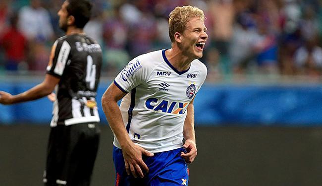 Alegria de Wesley ao festejar seu gol transformou-se em choro logo depois - Foto: Felipe Oliveira l EC Bahia