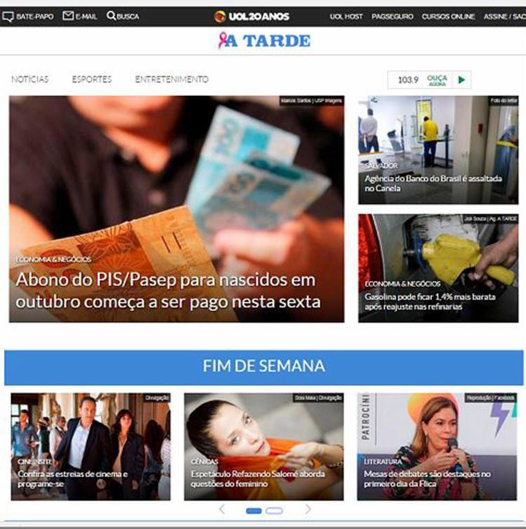 Portal ganhou design mais moderno e maior interatividade com redes sociais - Foto: Reprodução
