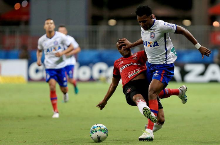 O jogador se machucou durante o jogo contra o Brasil de Pelotas - Foto: Felipe Oliveira | EC Bahia