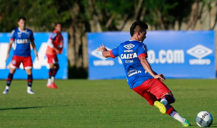 Os atletas participaram de uma atividade de bola parada nesta terça - Foto: Felipe Oliveira   EC Bahia