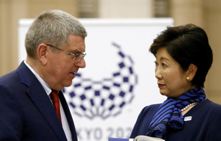 Presidente do COI, Thomas Bach, em encontro com a governadora de Tóquio - Foto: Kim Kyung-Hoon | Reuters