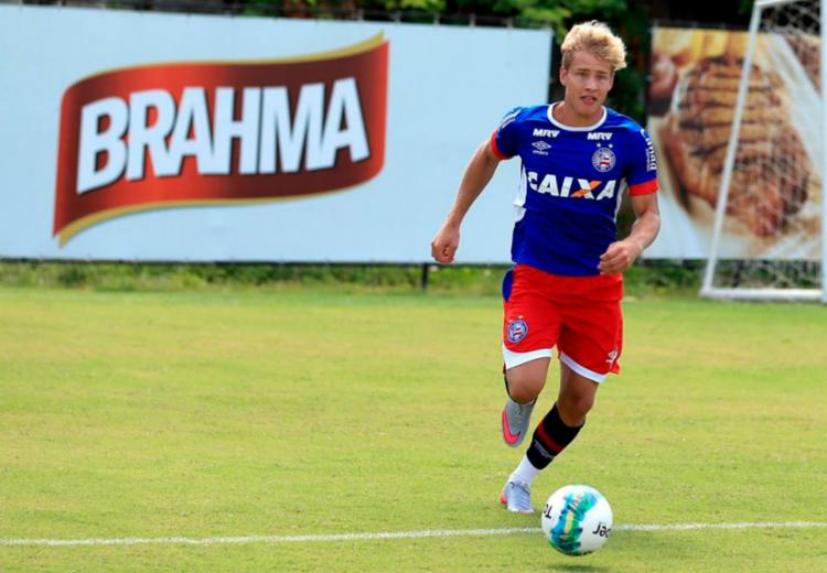 Atacante Wesley Natã no último treino em Salvador - Foto: Felipe Oliveira | EC Bahia