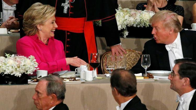 Hilllary e Trump participaram de um jantar organizado pela Igreja Católica - Foto: Jonathan Ernst | Agência Reuters