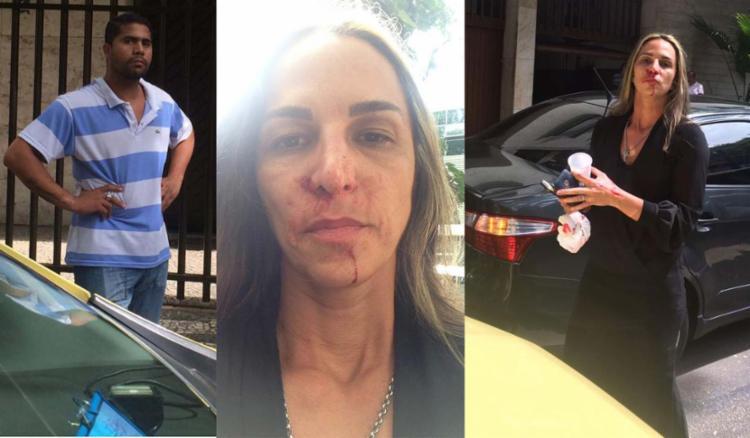Ela postou fotos machucada, com o rosto ensanguentado, e do taxista, no seu perfil do Facebook - Foto: Reprodução | Facebook