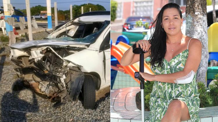 Veículo da bancária Bianca Lima foi destruído e ela ainda se recupera da cirurgia, após ser atingida pela porta - Foto: André Salvino l Divulgação e Luciano da Matta l Ag. A TARDE