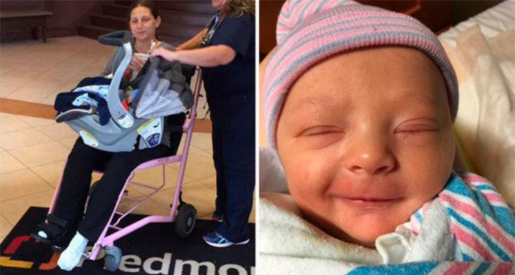 Stephanie Jaegers descobriu que estava grávida faltando 30 minutos para o bebê nascer - Foto: Reprodução | Facebook