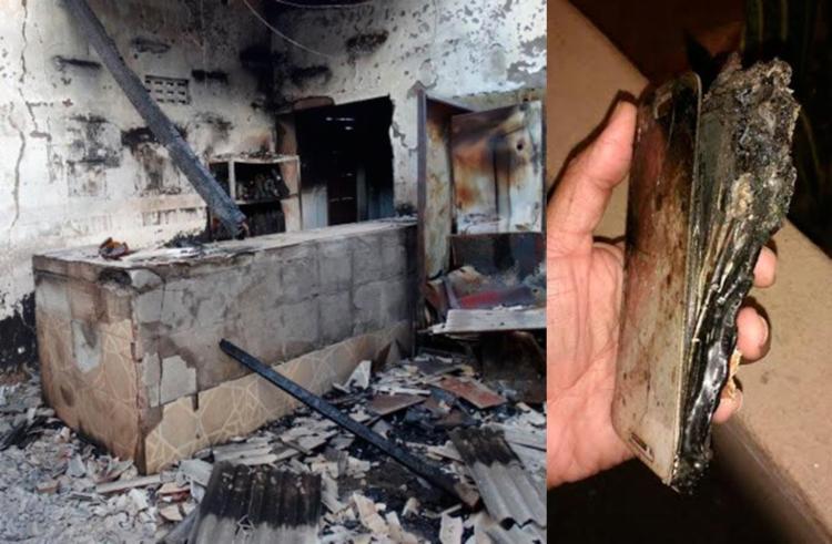 Bar destruído pelo incêndio e, ao lado, celular que teria explodido - Foto: Ney Silva   Acorda Cidade