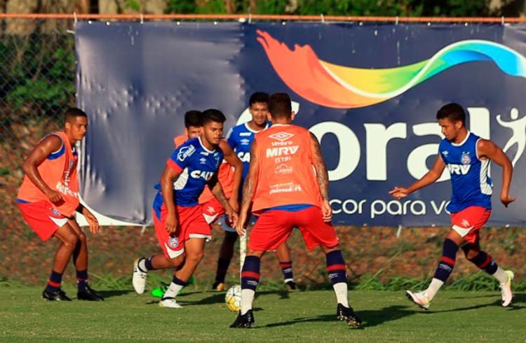 Time sub-20 em último treino antes de pegar o Internacional - Foto: Felipe Oliveira | EC Bahia