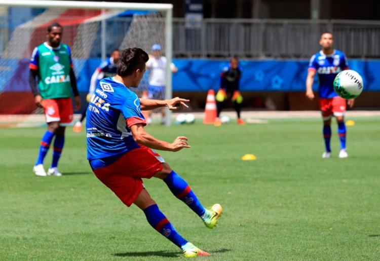 Bahia fez um treino de bola parada no palco da partida - Foto: Felipe Oliveira | EC Bahia