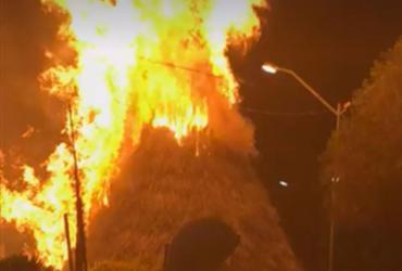 Árvore de natal pega fogo depois de ser atingida por rojão