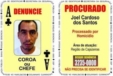Homem suspeito de homicídio é o novo 'Ás de Paus' do Baralho do Crime
